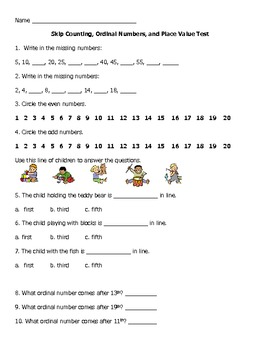 Assessment: Skip Counting, Place Value, Even/Odd, Ordinal Numbers