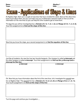 Assessment - Slopes & Lines