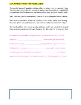 Assessment - Spanish 3 Exam 1: Adiós al verano, que aprendemos del pasado