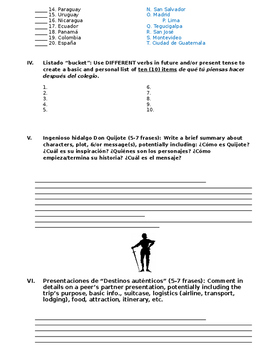 Assessment - Spanish 5 Exam 5: ¿Quién seré?