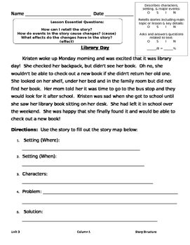 Assessment:  Story Elements & Story Structure