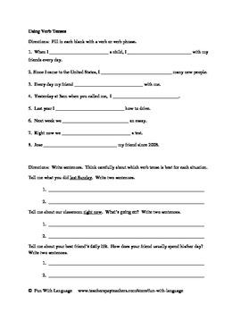 Assessment Test for English Verbs for ESL or ESOL Grammar