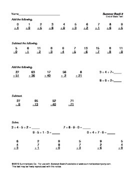 Assessment for the End of First Grade or the Beginning of