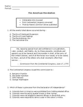 Assessment: The American Revolution
