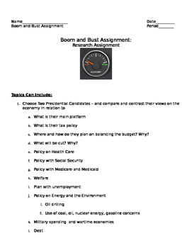 Assessment Topics/ Assignment for Economics in the United States