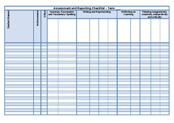 Assessment and Reporting Checklist English