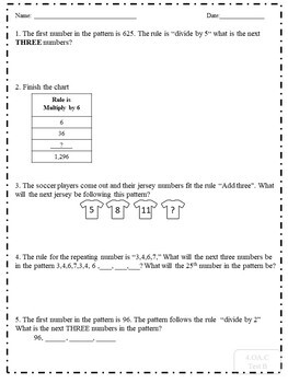Assessment for 4.OA.C.5 (Patterns and Rules)