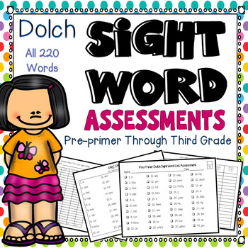 Sight Words assessments Preprimer to 3rd grade:
