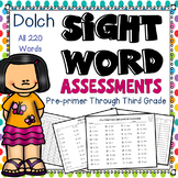 Sight Words assessments Preprimer to 3rd grade: