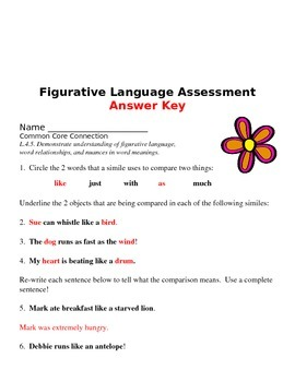Assessment for Figurative Language 4th Grade