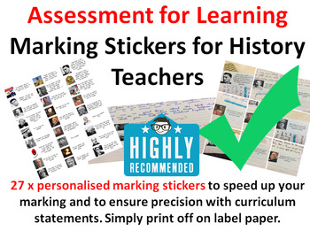 Assessment for Learning Personalised Marking Stickers for History Teachers