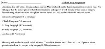 Assessment for Macbeth