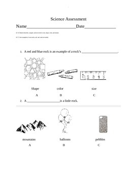 Assessment for Rocks Science