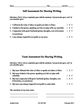 Assessment for Sharing Writing