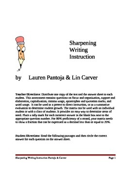 Assessment for Sharpening Writing Instruction