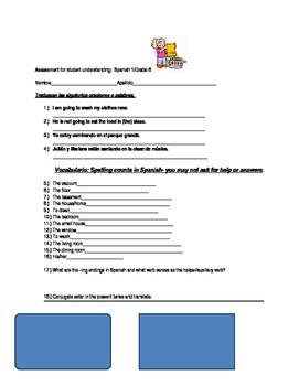 Assessment for Student Understanding: Present Progressive Spanish