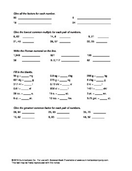 Assessment for the End of Sixth Grade or the Beginning of Seventh Grade