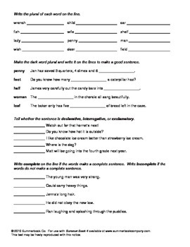 Assessment for the End of Third Grade or the Beginning of Fourth Grade