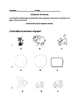 Assessment  in Spanish of texture for Science
