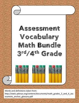 Assessment math vocabulary bundle grades 3/4