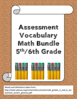Assessment math vocabulary bundle grades 5/6