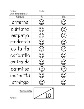 Assessment of Blending Syllables in SPANISH