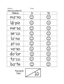 Assessment of Blending Syllables in SPANISH