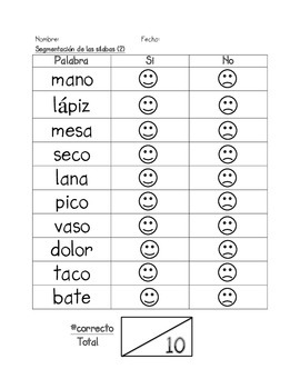 Assessment of Segmenting syllables in SPANISH