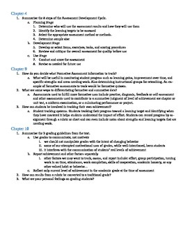 Assessment of Student Learning Chapter Questions