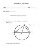 Assessment on Circle Theorems with solutions and markscheme