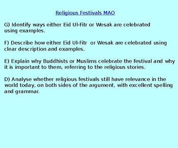 Assessment on Eid and Wesak KS3