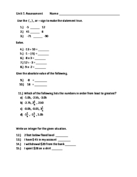 Assessment on Integers, Rational Numbers