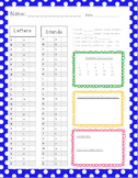 Assessment recording sheet