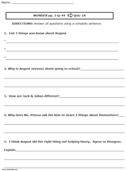 Assessment to use with WONDER by R.J. Palacio