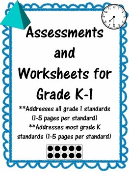 Assessments, Activities, and Worksheets - ALL Grade 1 common core math standards