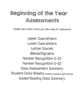 Assessments - Alphabet, Numbers, Sight Words