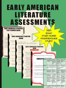 Assessments-Early American Literature, Essays, Rubrics, Tests and Answer Keys