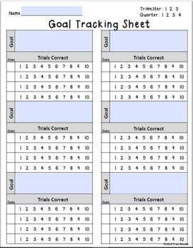 Assessments, Goal Tracking, & Progress Monitoring Sheets