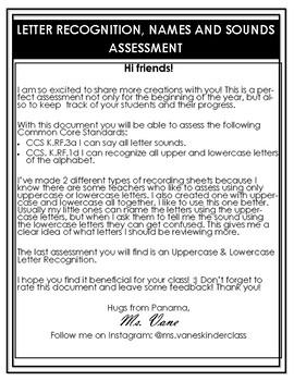 Assessments: Letter Names & Sounds. Upper & Lowercase Letter Recognition