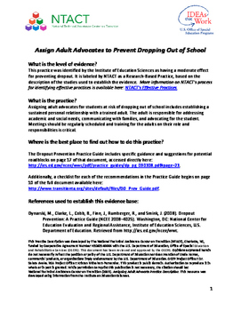 Assign Adult Advocates to Prevent Dropping Out of School