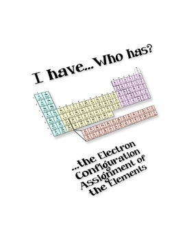 I Have…Who Has:  Assigning Electron Configuration Using th