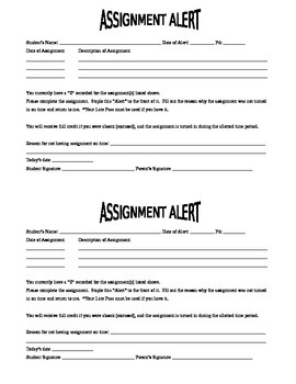 Assignment Alert for missing assignments