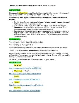 Assignment: Analyzing Themes in Award-Winning Short Films CCSS ELA RL 8.2-9.2