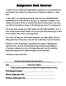 Assignment Book Contract
