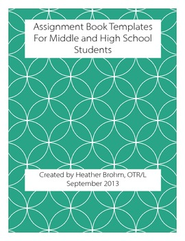 Assignment Book Templates For Middle and High School Students