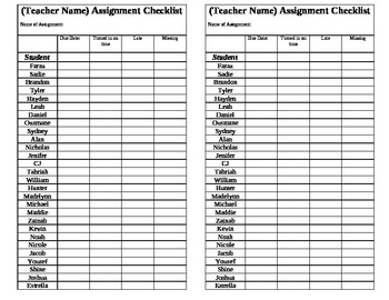 Assignment Checklist: On time, late, missing