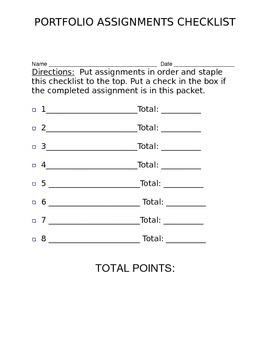 Assignment Checklist for Portfolio (DOC)