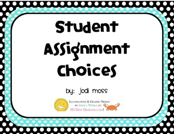 Assignment Choices Posters for Classroom Management