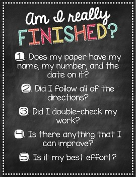 """Am I Really Finished?"" Assignment Completion Checklist {Chalkboard Theme}"