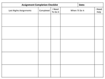 Assignment Completion Checklist & Plan for Completion